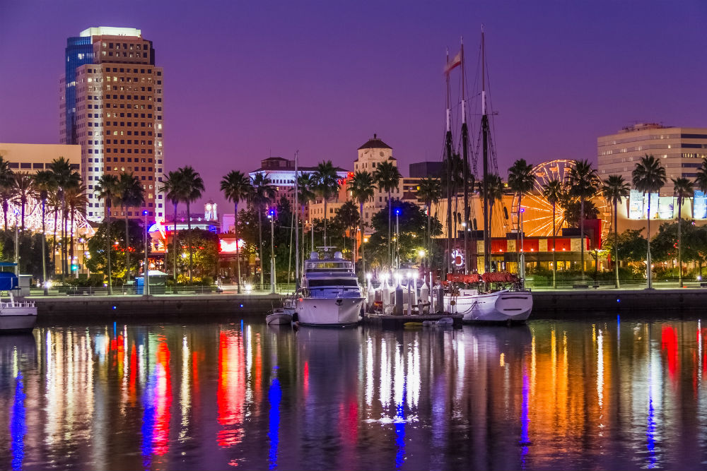 1 Night lights of Long Beach's skyline reflect in the water at the marina California (1)
